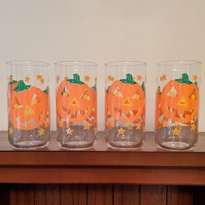 Vintage set of 4 Libby Jack-o'-lantern gla…